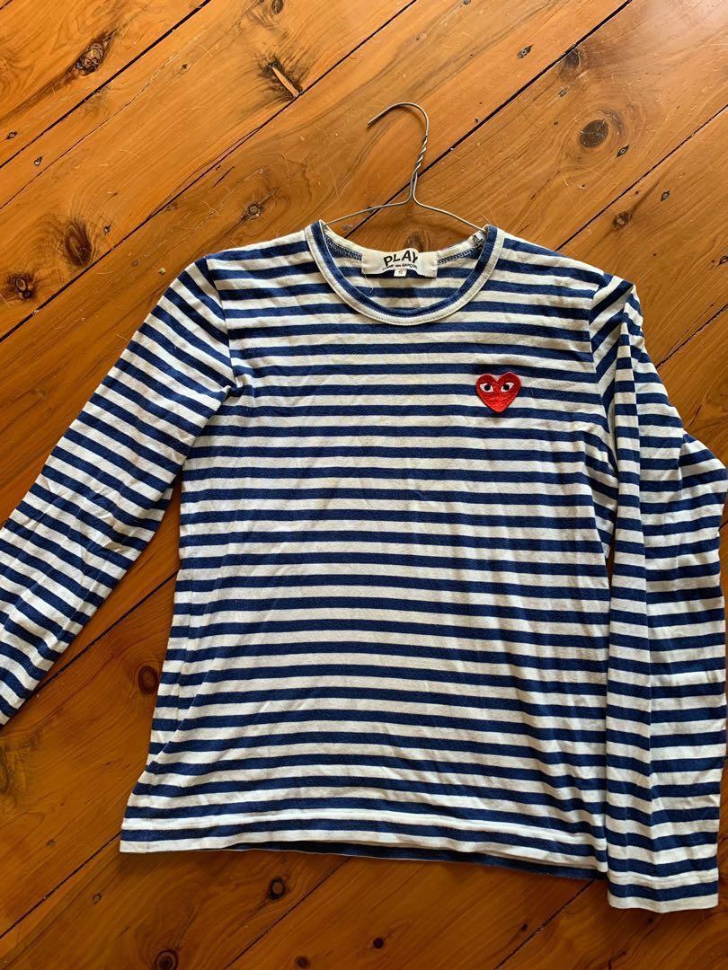 COMME DES GARCONS PLAY LONG SLEEVE HEART LOGO STRIPE TEE (navy blue)