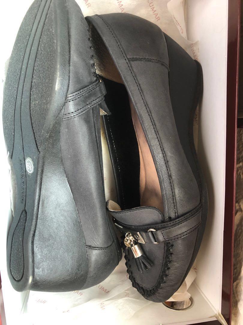 CUMAR專櫃 黑色全皮 上班跟鞋 低跟高跟鞋 工作鞋 氣墊高跟 真皮