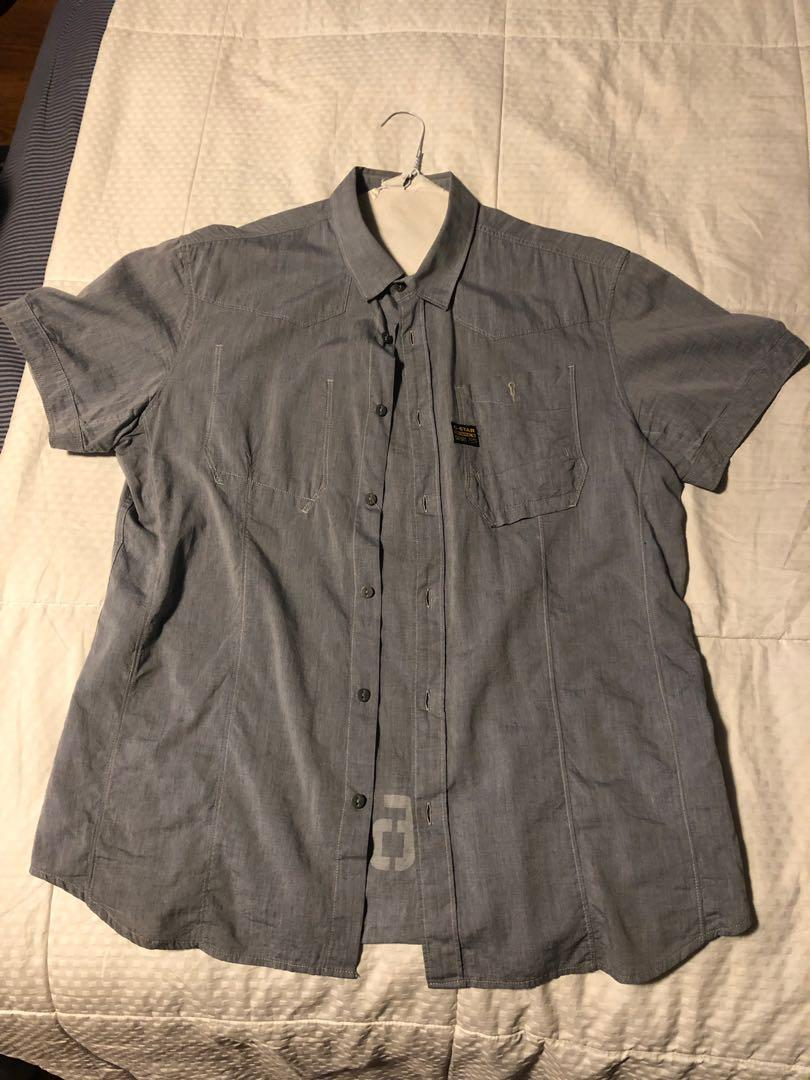 G-Star Raw; Denim Originals XL short-sleeve collared button-up (fits like a SMALL)
