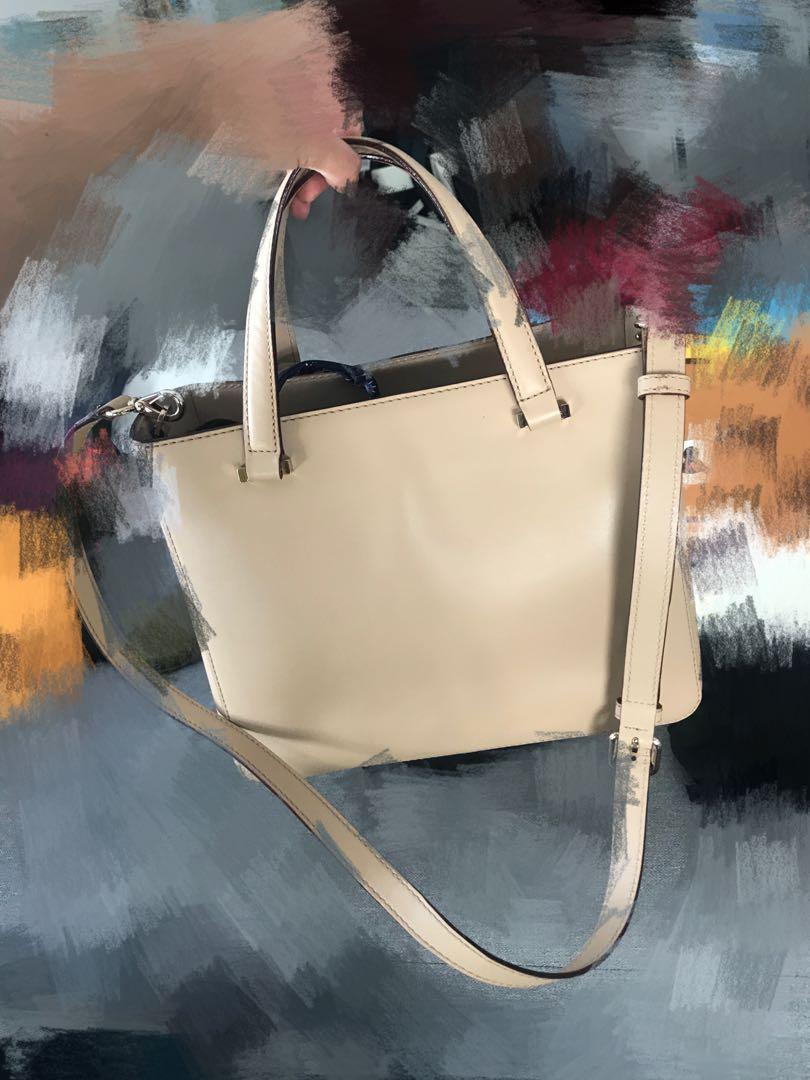 Kate Spade New York - beige cream tote with shoulder strap