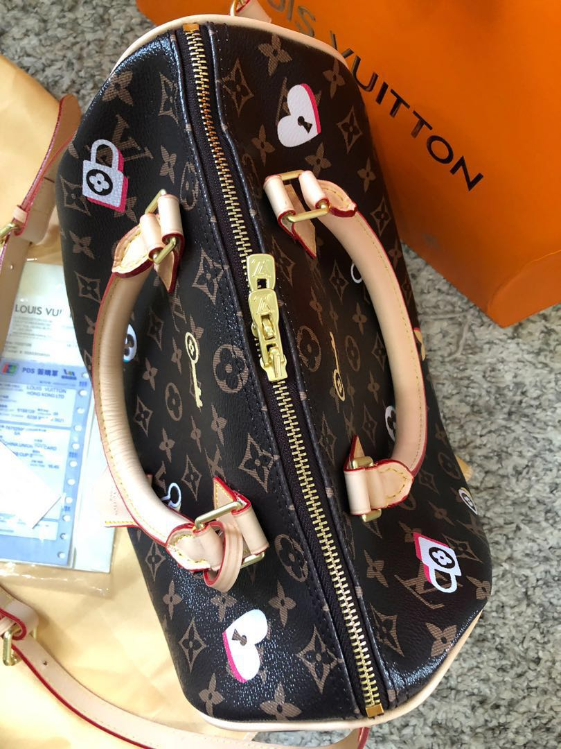 1ff1d7d1fdc5 Louis Vuitton Speedy Love Locks Monogram Bandouliere 30