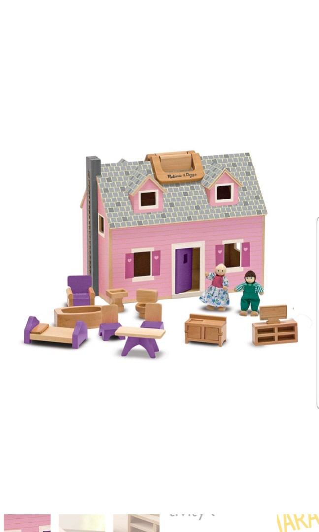 Melissa Doug Fold And Go Wooden Dollhouse With 2 Dolls And Wooden