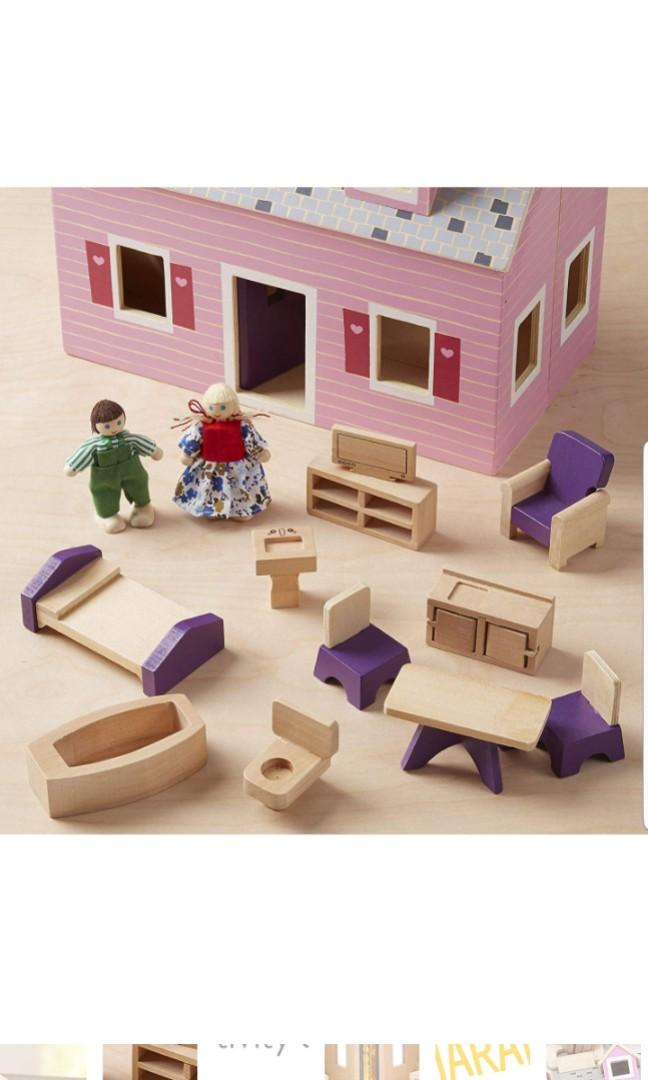 Melissa Doug Fold And Go Wooden Dollhouse With 2 Dolls And