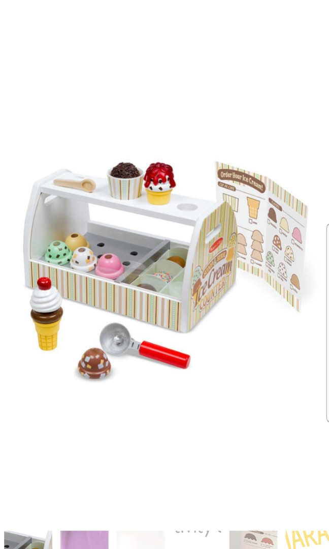 Melissa Doug Wooden Scoop And Serve Ice Cream Counter 28 Piece Play Food Pretend Wooden Kitchen And Accessories