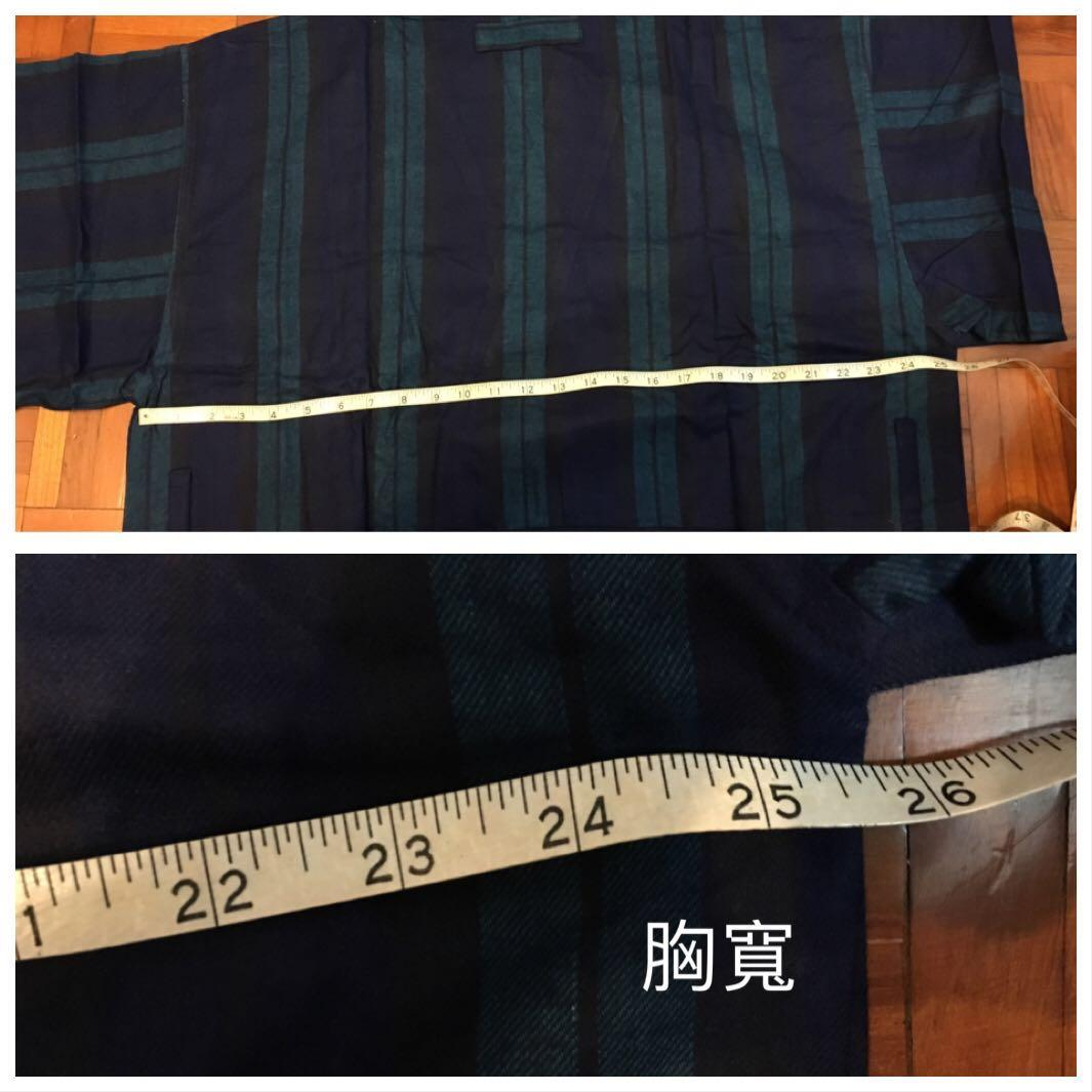 nautica 男裝藍綠色條子毛布中袖睡袍 有腰帶同2插袋 one size