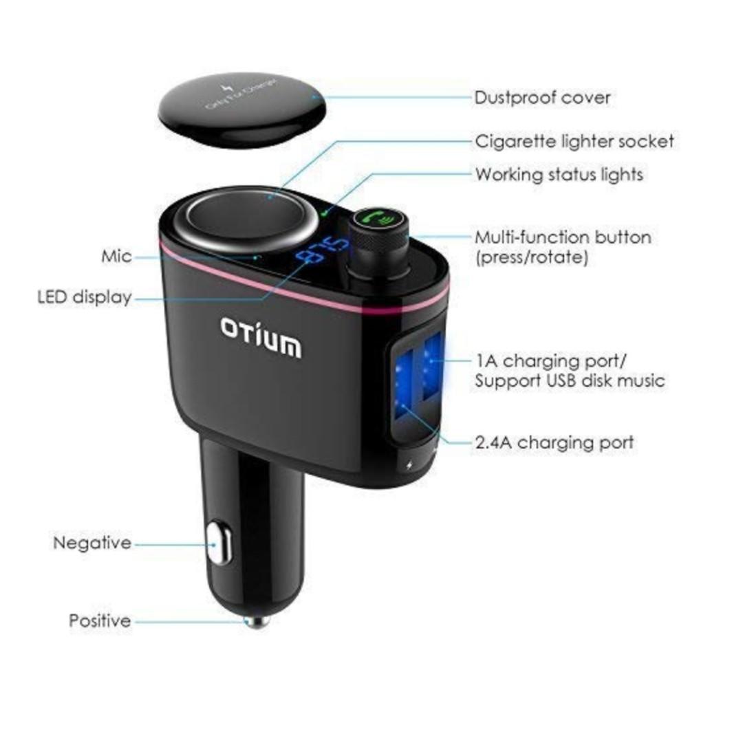 P15 Fm Transmitter Cigarette Lighter Socket Usb Car Charger 3 In 1