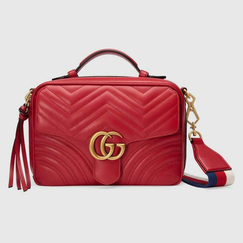 PO Sale 4-5 weeks GUCCI GG Marmont Top Handle Shoulder Bag in Red with Blue/Red/White Web Strap Size 25cm x 19cm x 8cm