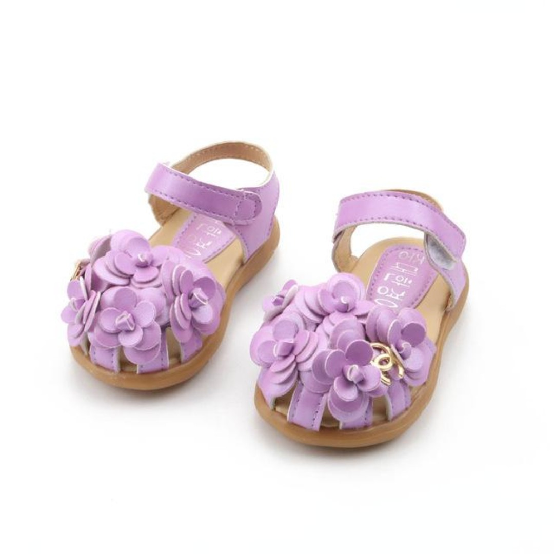 51413cb4e8 Purple Leather Flower Girl Shoes With Floral Design