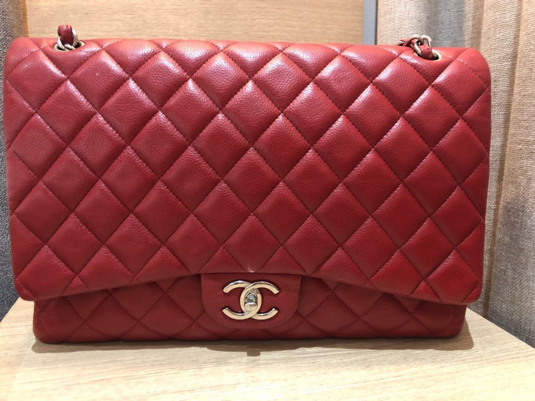 963ab164353 Red Chanel Maxi Bag, Luxury, Bags & Wallets, Handbags on Carousell