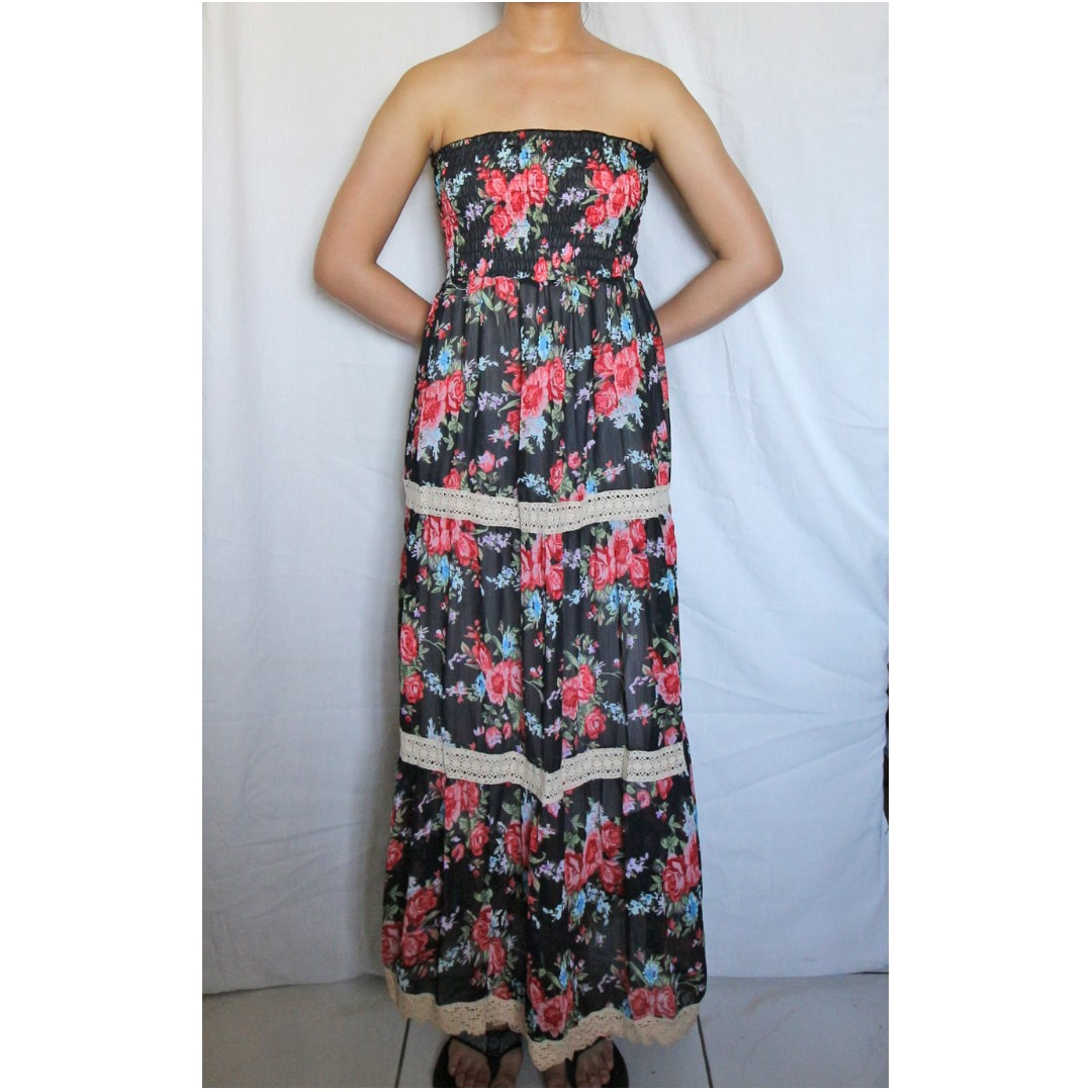 430619f0667 Roses on black chiffon tube maxi dress