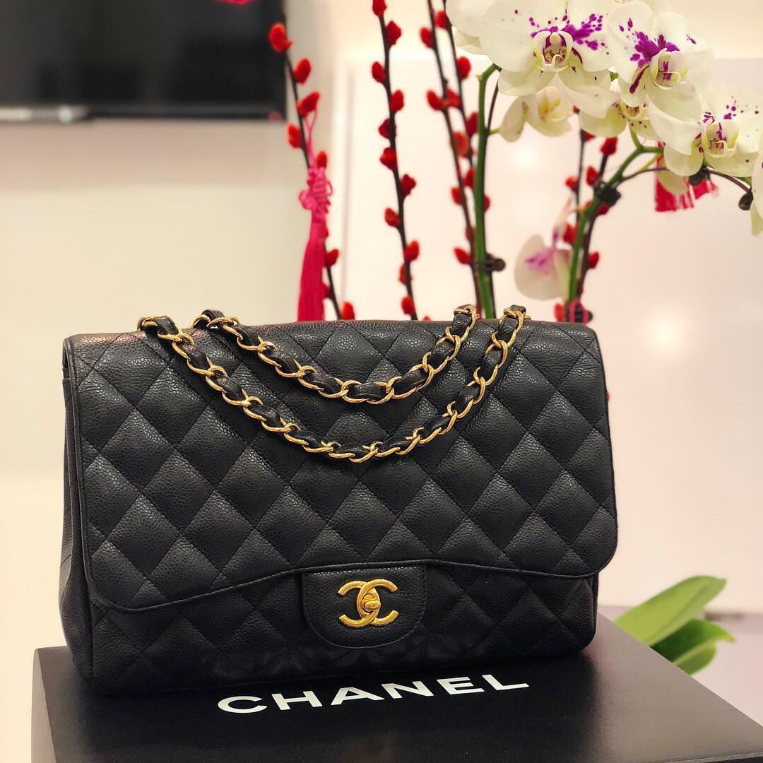 73adf19e10f9 ❌SOLD!❌ Superb Deal!🖤 Chanel Jumbo SF in Black Caviar GHW ...