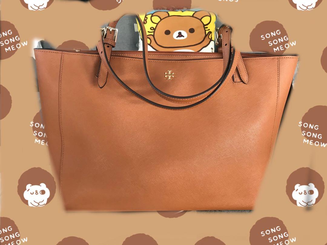 Tory Burch York Buckle Tote - tan leather large work tote