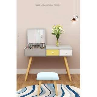 含運含組裝,現代簡約實木梳妝台,大容量儲物,分類擺放,貼心人性化設計臥室北歐化妝桌兼書桌兩用設計
