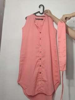 Dress peach panjang button kancing