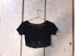 🚚 短袖黑色蕾絲短版上衣