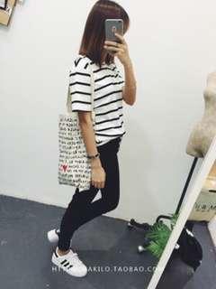 Women Tshirt Stripe Korean Style Top