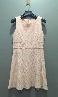 Baby Pink Lace Sleeveless Dress