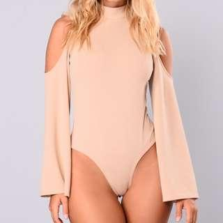 Fashion Nova Nude Bell Sleeve Bodysuit