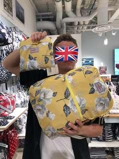 🚚 現貨隔天寄!英國正品Cath Kidston黃色花花後背包 可摺疊 輕便包 收納包 媽媽包