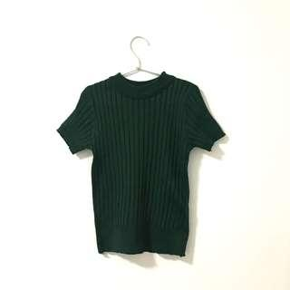 🚚 Forest Green Ribbed Knit Top