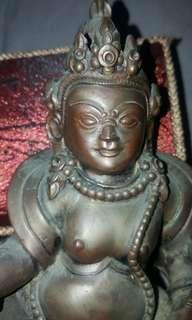 古舊密宗紫铜财神。约七吋高 !