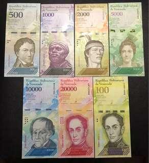 全新UNC 委內瑞拉 大面值7張 尾2同