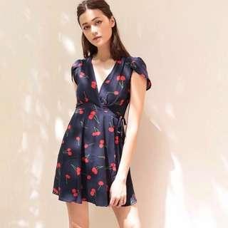 instock cherry wrap around dress