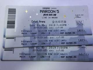 【原價】Maroon 5 澳門演唱會2019 魔力紅 門票 VIP