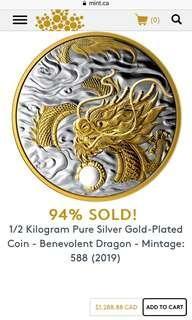 1/2 Kilogram Pure Silver Gold-Plated coin (2019)