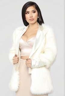 """Fashion Nova """"Like A Star"""" Fur Coat – Ivory"""