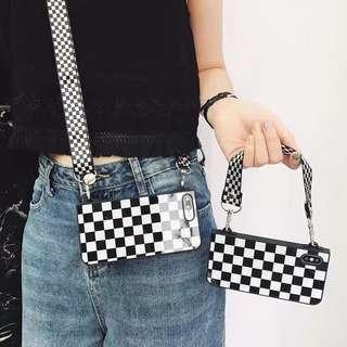 🚚 White and Black Checkered Phone Case with Sling/Strap
