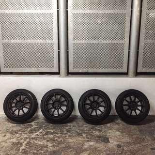 "FOR SALE- 4x100 / 4x114.3 pcd 16"" rims + Yokohama tires"