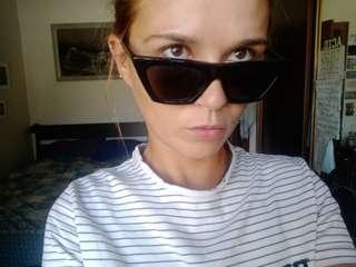Eve Strip Black Sunglasses.