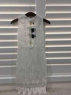 White crochet lace cut out high neck dress size 8
