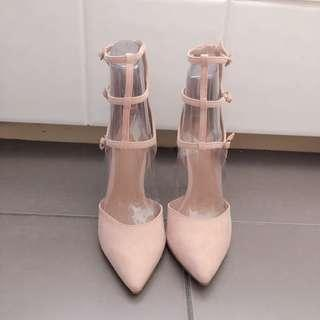 Pink beige heels
