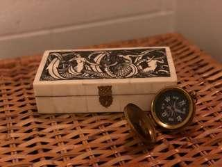 Siren Trinket Box and Antique Compass