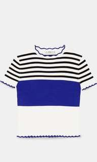 Zara striped sweater with scallop trims