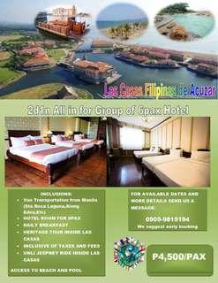 2d1n All in Group of 6 Hotel room Las Casas Filipinas de Acuzar with transpo