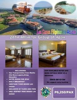 2d1n All in  group of 4pax Hotel room Las Casas Filipinas de Acuzar with transpo