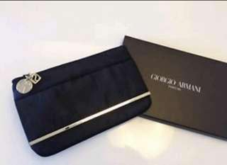 Giorgio Armani Parfums Black Pouch Clutch Evening Bag