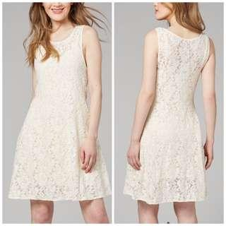 """Free People """"Miles of Lace"""" Ivory Fit & Flare Sleeveless Dress Sz L / 14"""