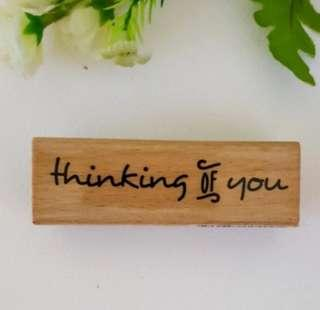 🚚 Woodblock Thinking Of You Rubber Stamp