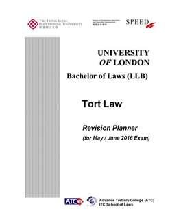 UOL LLB Tort Law Revision Notes from Speed