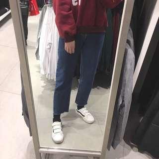 韓版牛仔寬褲