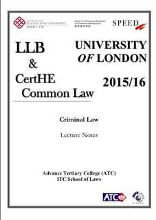 UOL LLB Criminal Law Lecture Notes from Speed