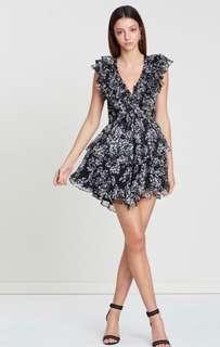 Shona Joy Ruffle Drawstring Mini Dress // Size 10