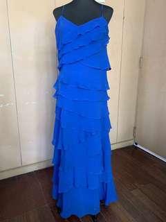 Blue Long Dress with shawl