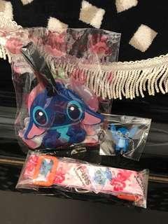 迪士尼史迪仔行李牌 掛頸繩和公仔 不散賣