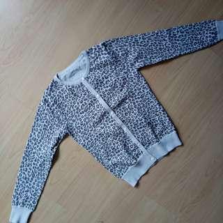 Animal print cardigan blouse