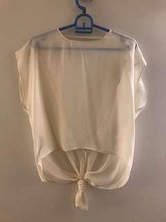 Zara sheer open back white blouse
